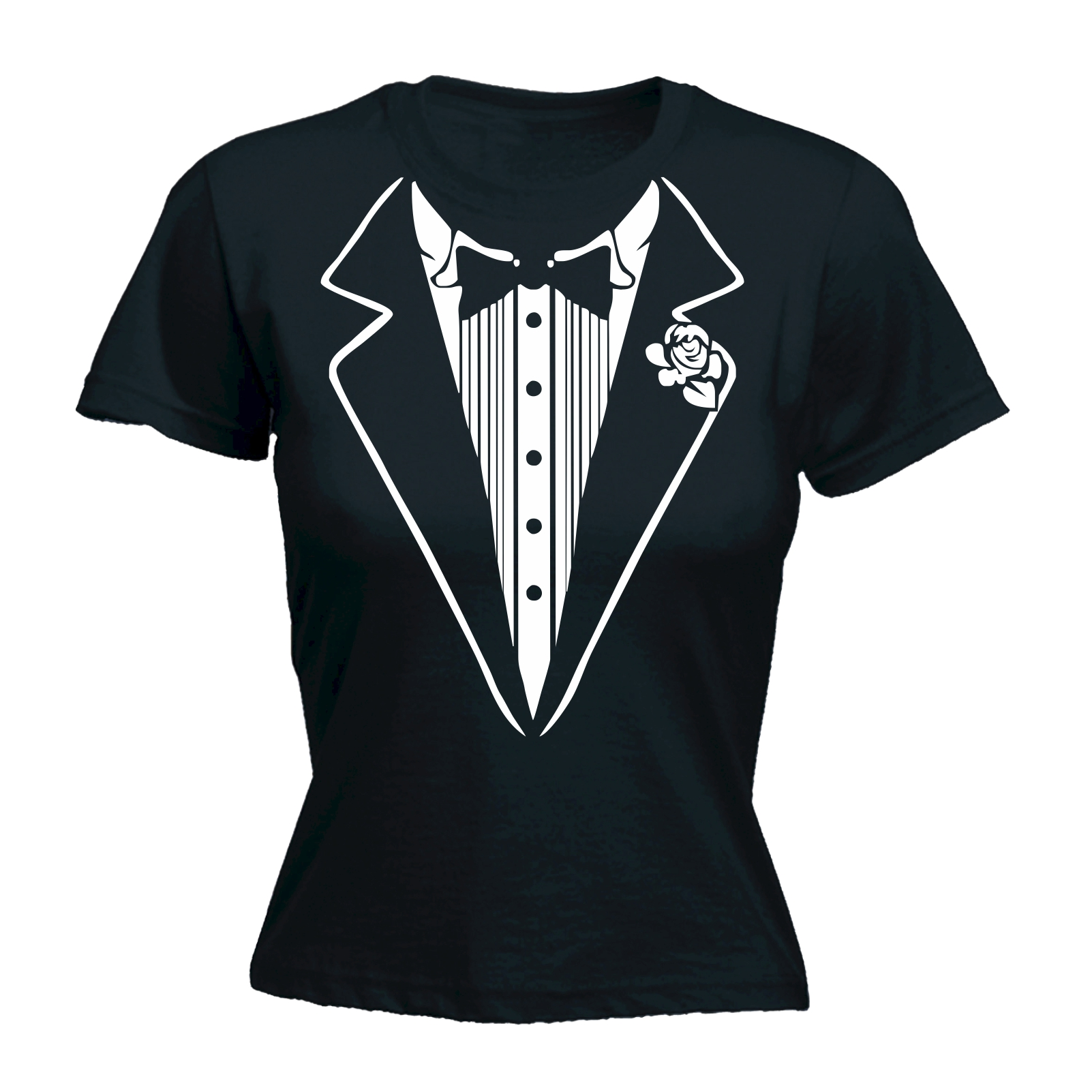 Tuxedo White Womens Fitted T Shirt Fancy Dress Cocktail
